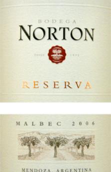 Norton Malbec Mendoza Reserva 2006 Argentina