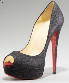 Christian Louboutin Lady Peep Glittered Pump