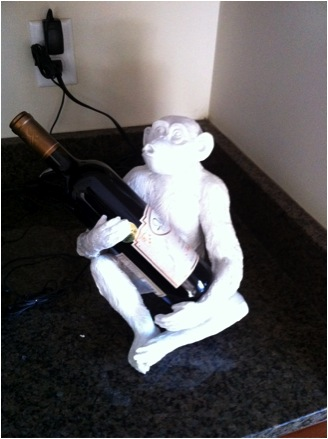 White Acrylic Monkey Wine Holder