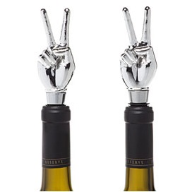 peace sign wine stoppers