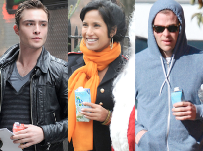 Ed Westwick, Padma Lakshmi, and Chris Pine drinking coconut water