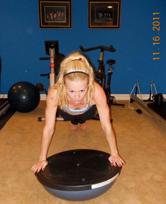 Pushups on Bosu offer an extra challenge because of having to balance.