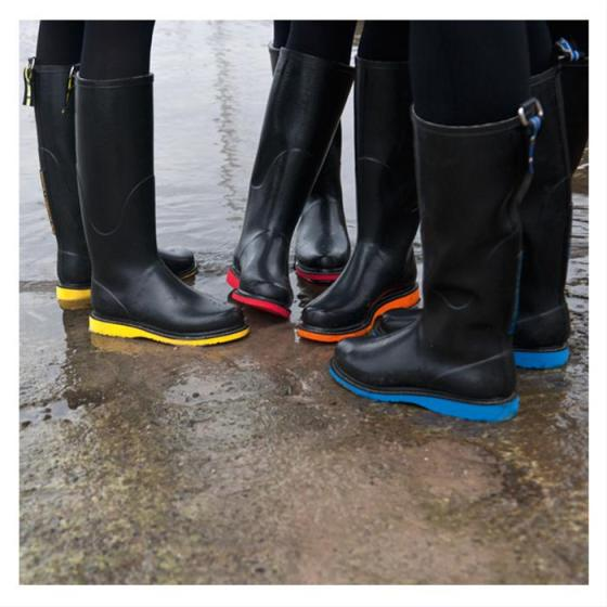Black Llse Jacobson rainboots with electric soles