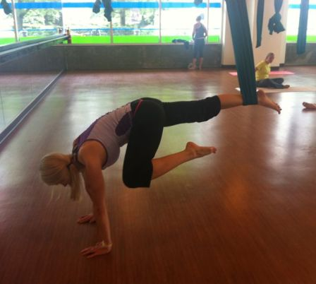 Our instructor, Dana, demonstrating a core move
