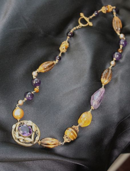 One of my Meredith Haws necklaces with semi-precious stones and tiger's eye.