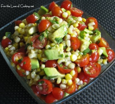 Just love the color in this Grilled Corn, Avocado and Tomato Salad