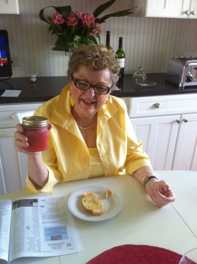 Charlotte Meldrum with a jar of her famous strawberry jam.