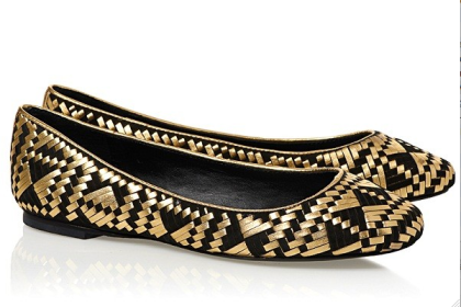 Rebecca Minkoff Uma flats with fresh black and gold pattern