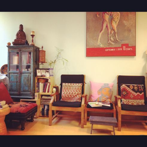 The zen waiting area at Eviama in Philadelphia