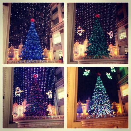 Pics of the Christmas tree changing color for the Wanamaker lightshow
