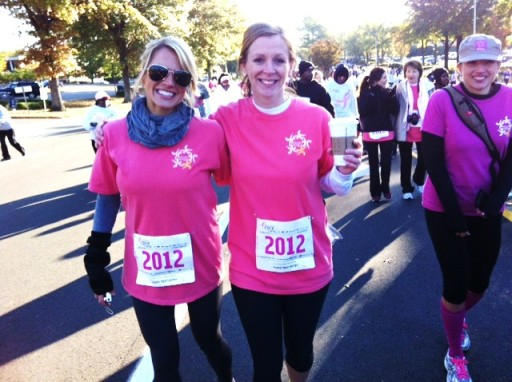 Laura and April Lipsey at the Race for the Cure w/ team April's Action