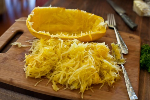 Spaghetti squash is a wonderful substitute for grain-based pasta