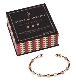 Galaxy Rose Gold Tri-color Count Me Healthy bracelet to count healthy kitchen swaps or daily servings of organic fruits and veggies