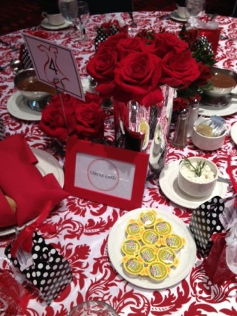 Table settings for Go Red luncheon at Charlotte Convention Center