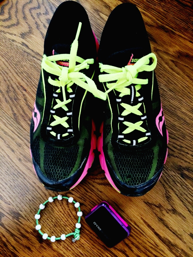 "My essentials for Pounce & Prep: ""Gymboss timer, shoes and my color wrap CMH bracelet in Ivy."