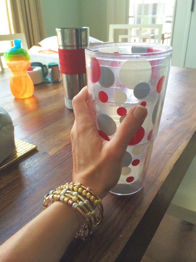 Here is My Cup...along with Camden's My Cup. I'm wearing a stack of rose, gold, silver and Tri-Color Count Me Healthy Bracelets.